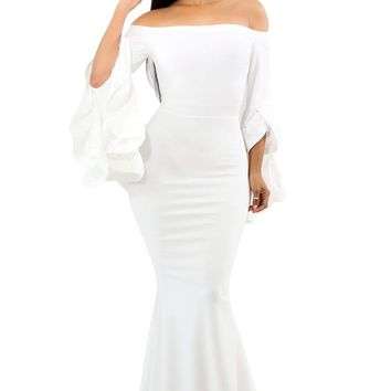 White Off Shoulder Pleated Bell Sleeves Party Evening Maxi Dress
