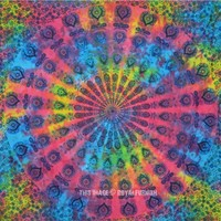 Multi Holi Colorful Mandala Throw, Hippie Tie Dye Sheet Tapestry - RoyalFurnish.com