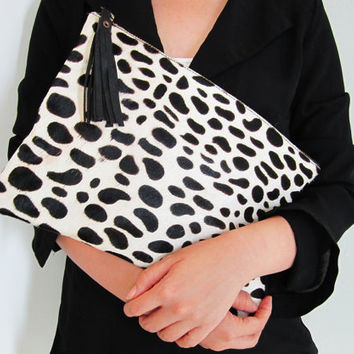 Oversized Dalmatian Print Calf Hair Zipper Pouch Leather Clutch