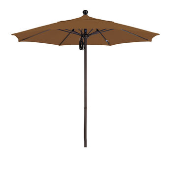 7 1/2 Foot Sunbrella 4A Fabric Aluminum Pulley Lift Patio Patio Umbrella with Bronze Pole