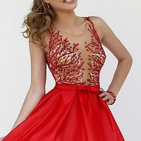 Short Red Babydoll Style Dress by Sherri Hill