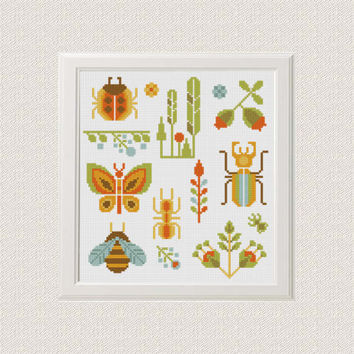 insect cross stitch pattern modern Nature summer sampler cross stitch Beetle, butterfly, ladybug, ant, flowers leaves needlepoint home decor