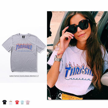 """""""THRASHER"""" Fashion Casual Loose Male Female Flame Letter Print Round Neck Short Sleeve Couple Hip hop Cotton T-shirt"""