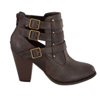 Buckle Ankle Boots - Brown