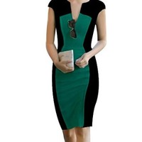 Senfloco Women's Sexy V-neck Colorblocked Party Business Pencil Dress