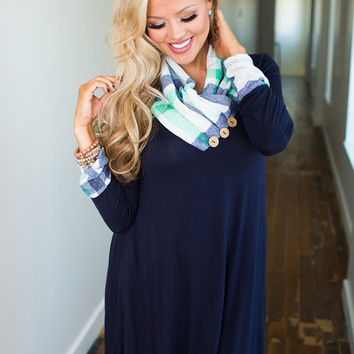 Plaid Cowl Neck Button Love Dress Navy