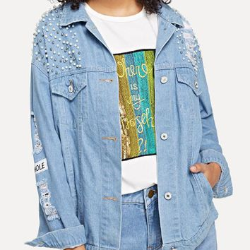 Denim Single Breasted Ripped Jacket