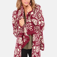 Take Leaf Burgundy Floral Print Cardigan Sweater