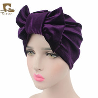 Luxury  women bow velvet Turban Hat with the sliver diamante brooch three option wear New style