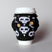 Punk coffee cozy. Skull mug sweater. Travel mug cozy. Knit cup sleeve. Black and white. Studs sweater. Office coffee. Starbucks cup holder
