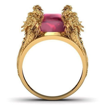 Temple of the Ancient Dragon Ruby Ring Men's