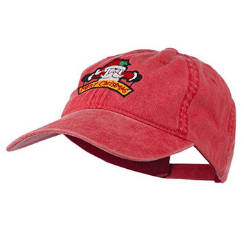 Merry Christmas Santa Claus Embroidered Cotton Cap - Red OSFM