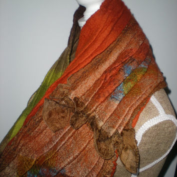 Nuno Felted Scarf, Cowl from  Merino Wool 18 mic. and Pure Silk Fabric. Accessory. Wearable Art. Nuno Felted Scarf.