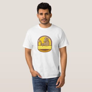 Ram Goat Drinking Coffee Crest Drawing T-Shirt