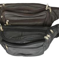 New Design Large Multi Zippered Genuine Leather Fanny Pack Waist Bag 041 (C)