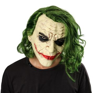 Batman Dark Knight gift Christmas Joker Mask Movie Batman The Dark Knight Cosplay Horror Scary Clown Mask with Green Hair Wig Halloween Latex Mask Party Costume AT_71_6