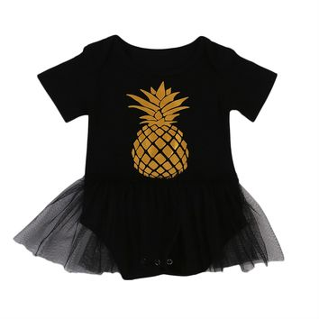 2017 Summer Princess Baby Girls Black Romper Pineapple Printed Short Sleeve Tutu Skirted Jumpsuit One Pieces Sunsuit Clothing