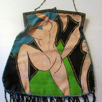 Vintage Purse Handbag. Hand Painted. Matisse Dancers. Unique Gift Accessory for Her. Fashionista. One of a kind. Wearable Art