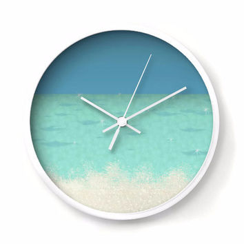 Sea and Sand Nautical Wall Clock, color block of blue, aqua and sand