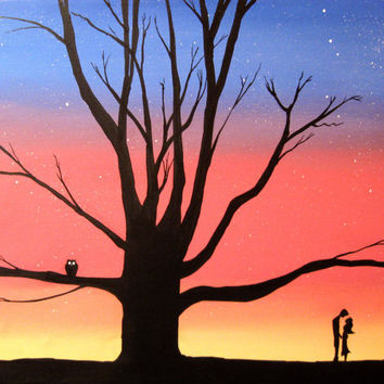 "canvas art valentines day ""Love Tree"" silhouette art 16 x 20 wall art valentine decor starry night woodland nature huge wall art"