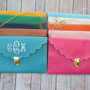 Monogrammed Scalloped Envelope Purse - Personalized Clutch - Monogrammed Clutch