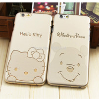 Luxury Golden Hard PVC Popular Design Pooh Bear Case For iPhone 6 6S Case # 4.7 inch