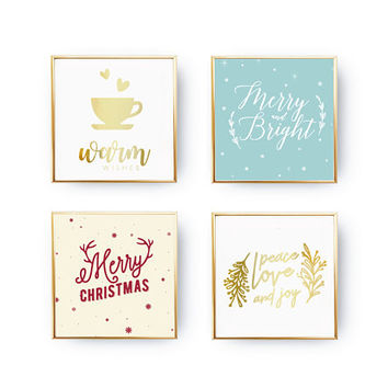SET of 4 Prints, Warm Wishes, Holiday Sign, Xmas Wall Art, Christmas Print, Xmas Gift, Peace Love And Joy, Real Gold Foil, Christmas Decor