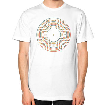 Vinyl music metro record map labyrinth Unisex T-Shirt (on man)