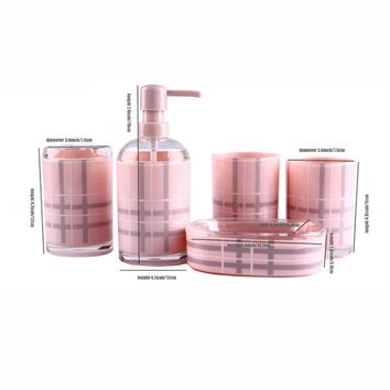 Acrylic 5 Piece Bathroom Accessory Set Soap Dispenser Bottle Soap Dish Cup Toothbrush Holder Case Caddy E2S