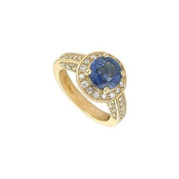 Blue Sapphire and Diamond Engagement Ring : 14K Yellow Gold - 4.00 CT TGW
