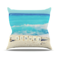 "Monika Strigel ""Summer at the Beach"" Blue Coastal Outdoor Throw Pillow"
