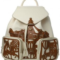 Ivory Faux Leather Backpack with Merry-Go-Round Detail