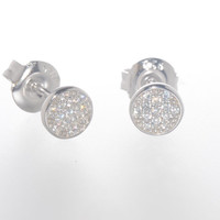 Sterling Silver CZ Stud Earrings Micropave Set Cubic Zirconia Stones 6mm Circle