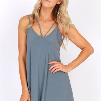 Strappy New Year Dress Cool Grey
