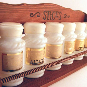 Milk Glass Spice Jars in Rack Set of 6