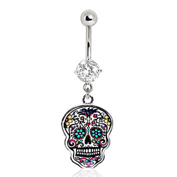 316L Surgical Steel Floral Sugar Skull Navel Ring