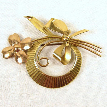 True Art 10k Solid Gold Yellow Rose Bow Flower Circle Brooch Pin