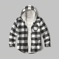 sherpa lined hooded plaid shirt