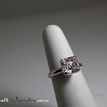 5 Carat Asscher Cut Cubic Zirconia Sterling Silver Solitaire Engagement  Promise Ring F e9453f41e