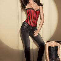 Red Strapless Striped Corset Zipper Front Top