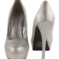 JonesUT! By Delicious Platform Stiletto High-heel Dress Pumps in Silver Glitter