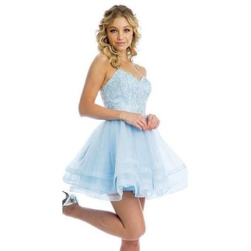 Short Tiered Tulle Homecoming Ice Blue Dress Embroidered Bodice