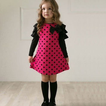 New Casual Korean Style Girls Polka DOT Princess Long Sleeve Dress 18996|28001 Children's Clothing = 1651103428