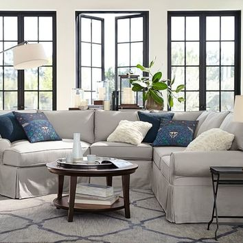 PB BASIC SLIPCOVERED SMALL 4-PIECE ANGLED CHAISE SECTIONAL