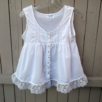 Upcycled Women's White Babydoll Junior's Shirt with Lace