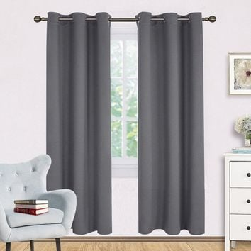 Bedroom  Draperies  Panels and Noise Reducing Thermal Insulated Solid Ring Top Blackout Window Curtains