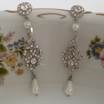 "Swarovski Crystals Bridal Drop Earrings ""Vintage Queen"", Wedding Earrings, Bridesmaid Jewelry, Bride Earrings, Dangle Earrings"