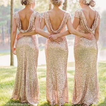 Shinning Backless Sequined Long Party Bridesmaid Dress