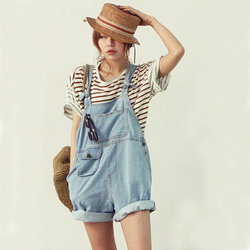 ‰ªÁ Cute Trendy Denim Overalls Jumpsuit Jeans Shorts ‰ªÁ