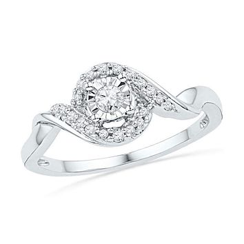10kt White Gold Women's Round Diamond Solitaire Twist Promise Bridal Ring 1/6 Cttw - FREE Shipping (US/CAN)